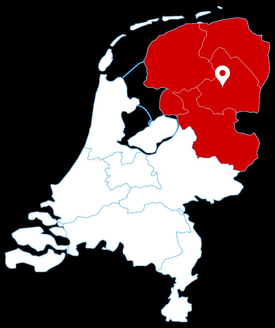 Werkgebied: Friesland, Groningen, Drenthe en Overijssel